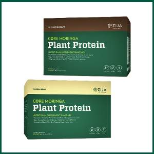 zija core moringa plant protein powder contains a complete protein extracted from moringa oleifera leaves, each serving provides 20 grams of 100% plant derived protein in a proprietary gluten-free, soy-free, and vegan formulation